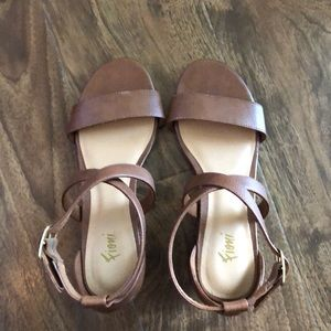 Brown wedge sandals!